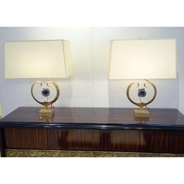 1970s Willy Daro Rare Pair of Table Lamps in Brass and Amethyst Quartz Belgium circa 1970 For Sale - Image 5 of 5