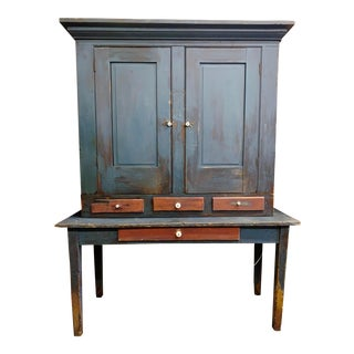 Antique Blue Painted Pine Cabinet For Sale