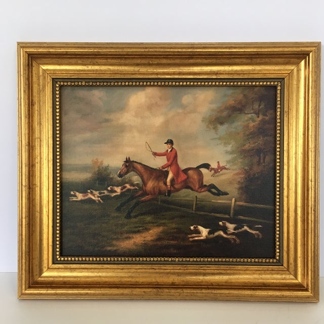 Framed Fox Hunting Painting For Sale - Image 4 of 4