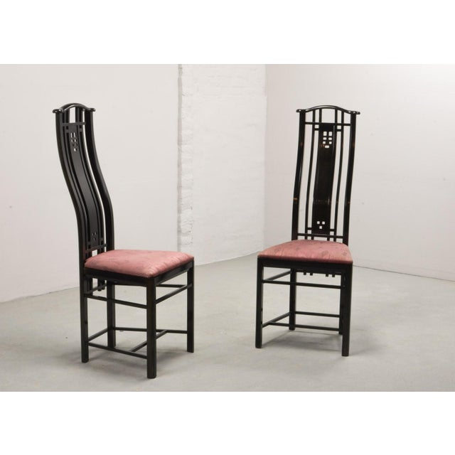 Fabric Mid-Century Italian Design Black Lacquered and Pink Fabric Dining Chairs by Giorgetti, 1970s - 1980s. For Sale - Image 7 of 13