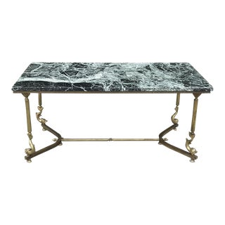 Mid-Century Brass & Marble Coffee Table For Sale