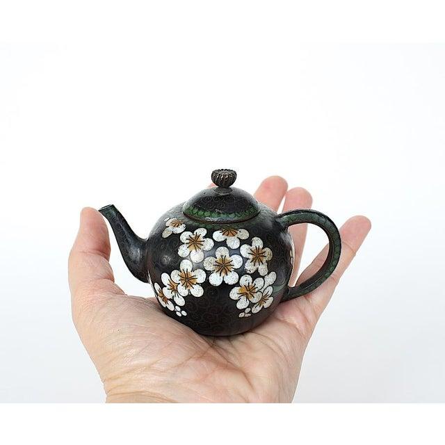 1910s Antique Miniature Japanese Cloisonne Teapot For Sale - Image 5 of 13