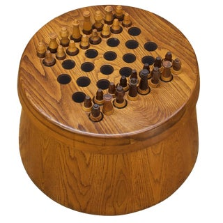 1950s, Studio Craft Oak Staved Possibly Illuminating Chessboard Chess Set For Sale