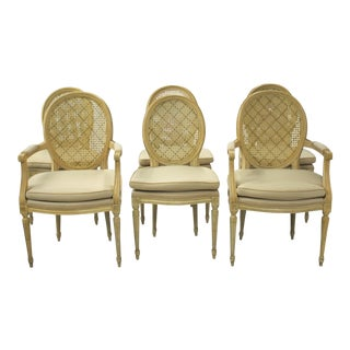 Set of 6 Louis XVI Style Painted Cane Back and Upholstered Dining Chairs For Sale