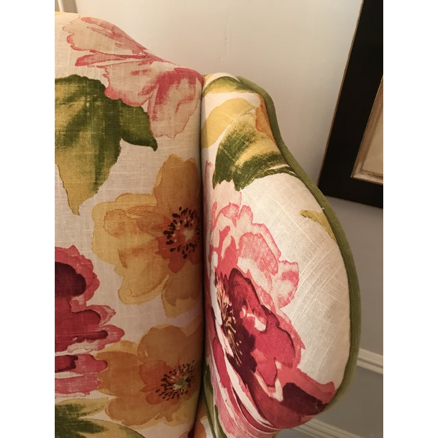 Floral Linen Wing Chairs - A Pair For Sale - Image 4 of 8