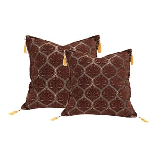 Boho Chic Turkish Trellis Chenille Brown Silver Pillows - a Pair For Sale