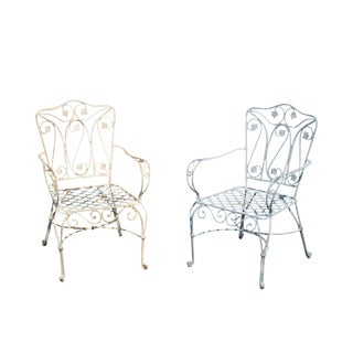 Quality Pair of Heavy Wrought Iron Garden Armchairs For Sale