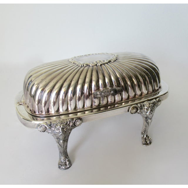 Wm. Rogers Silver Plate Platform Claw Footed Domed Butter Dish -2 Pieces For Sale - Image 13 of 13