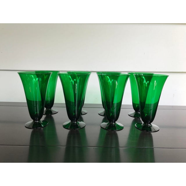 Vintage Green Dessert Glasses - Set of 8 - Image 4 of 6