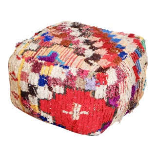 Boucherouite Rug One Of-A-Kind Pouf For Sale