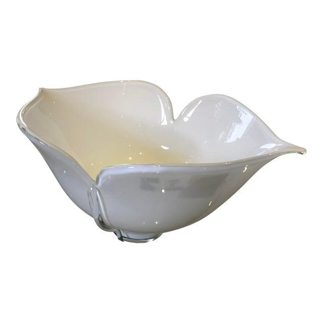 1980s Vintage Barovier E Toso Vetri Murano Italian Art Glass Centerpiece Bowl For Sale