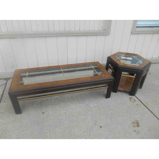 Awesome Mid-Century Modern Milo Baughman Style Large Burl Walnut Brass & Glass Coffee/ End Table Set. This set is not...
