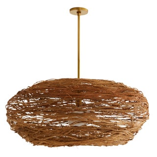 Arteriors Organic Modern Rattan Wilde Pendant Light For Sale