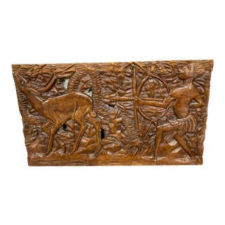 African Exotic Wood Hand Carved Wall Mural Decor For Sale