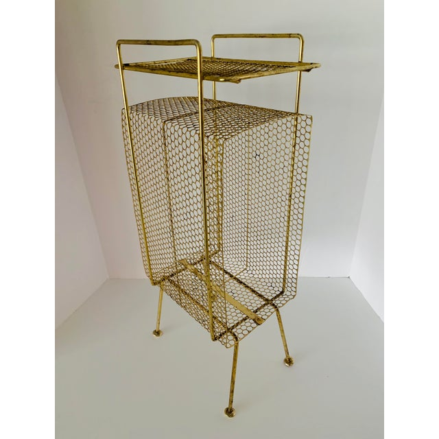 Atomic Modern Mid Century Modern Brass Phone Stand 1950s Googie Gold Retro Telephone Table Duchin Galef Style For Sale - Image 9 of 9