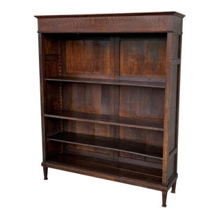 19th Century Antique Victorian Mahogany Open Bookcase With Three Shelves For Sale