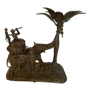 Vintage Large Cast Solid Bronze Elephant With Monkeys Candle Holder in Palm Tree 1980 For Sale