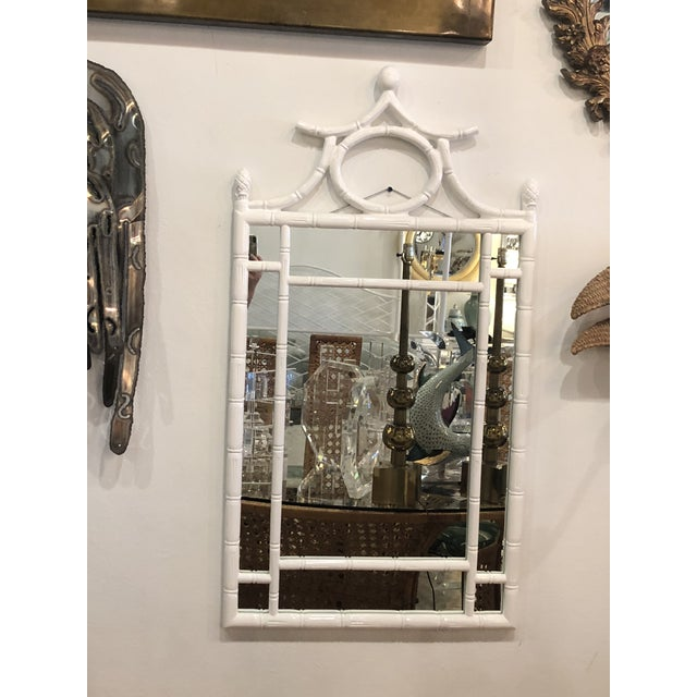 Vintage Hollywood Regency White Lacquered Faux Bamboo Pagoda Wall Mirror For Sale - Image 9 of 9
