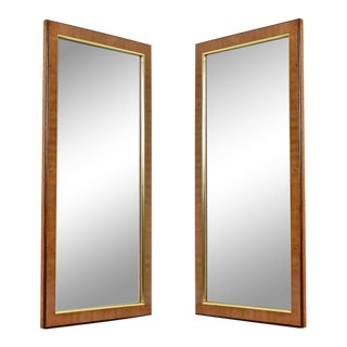 Hollywood Regency Burl Wood and Brass Drexel Heritage Avenues Mirror Set For Sale