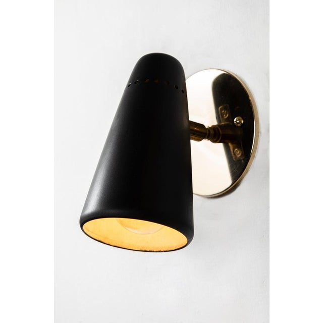 1950s Mid-Century Modern Stilnovo Sconces in Black and Brass With Yellow Label For Sale - Image 9 of 13