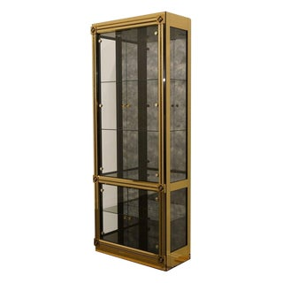 "Mastercraft Grand Rapids Brass and Glass 33"" Curio Cabinet For Sale"
