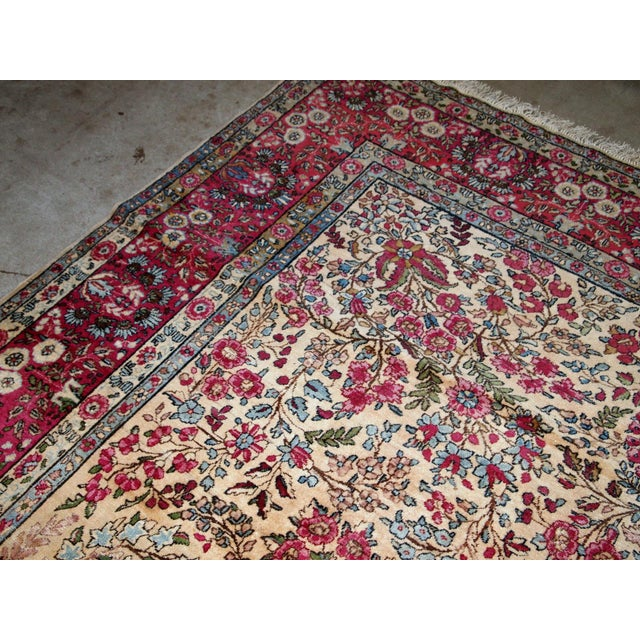 Blue 1900s, Handmade Antique Persian Kerman Lavar Rug 8.9' X 11.6' - 1b701 For Sale - Image 8 of 13