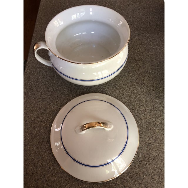 Antique Ironstone and Semi Porcelain Smith Phillips East Liverpool Ohio Empress Line Chamber Bathing Set of 10 For Sale In Providence - Image 6 of 9