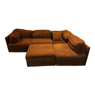 1970s Milo Baughman Style Brown Sectional Sofa W/Ottoman - 5-Piece For Sale