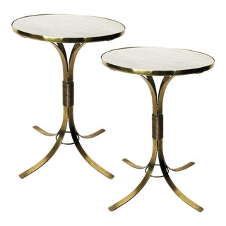 Pair of Mid-Century Modern Neoclassical Style Brass and Marble Top Side Tables For Sale