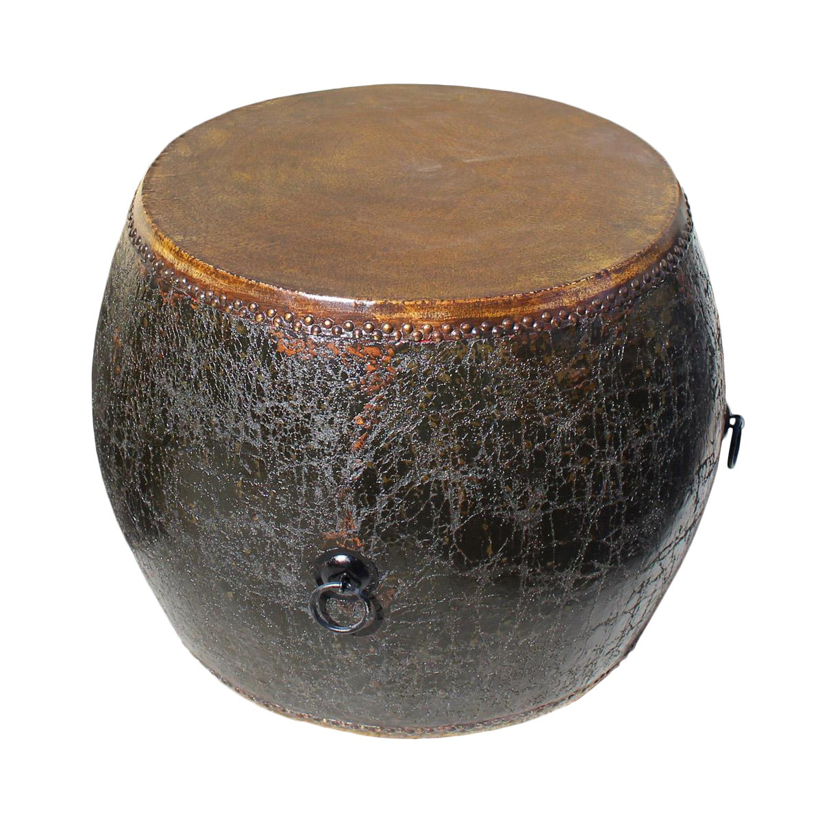 Chinese Drum Coffee Table: Chinese Distressed Black Lacquer Drum Table