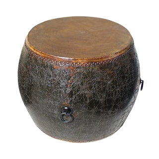 Chinese Distressed Black Lacquer Drum Table For Sale