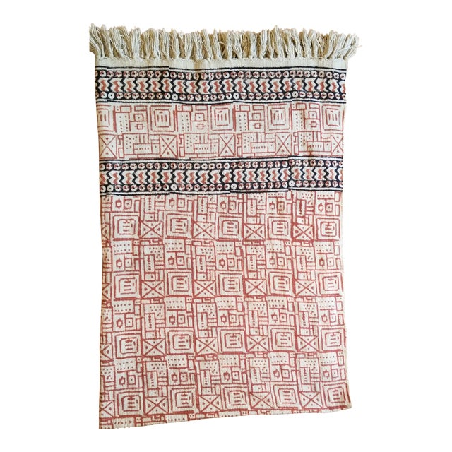 Hand Woven Block Printed Throw For Sale