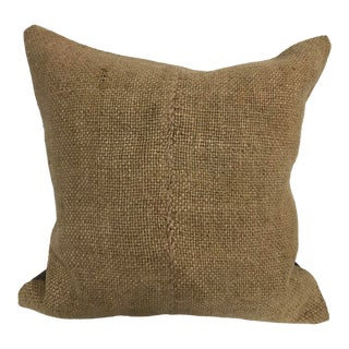 Vintage Turkish Camel Color Hemp Handmade Kilim Pillow Cover For Sale