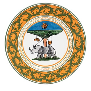 """Rhino Dinner Plate 11.5"""", Contrade Dinnerware From Siena For Sale"""