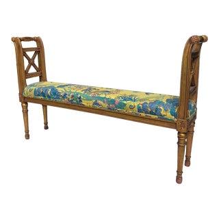 1950s Vintage Gilded Hollywood Regency Upholstered Narrow Bench For Sale