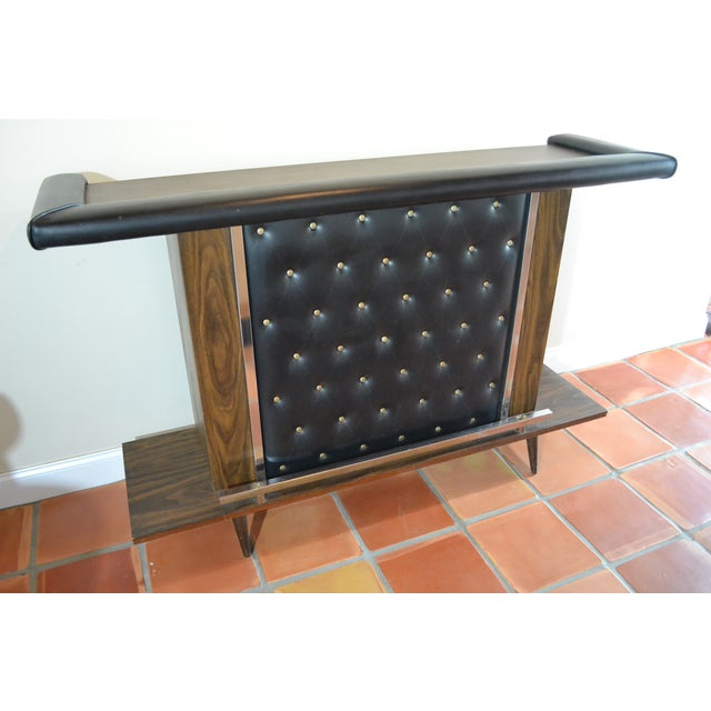 Mid-Century Modern Tufted Bar & Stools - Image 9 of 10