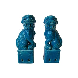 Vintage Blue Foo Dogs - A Pair For Sale