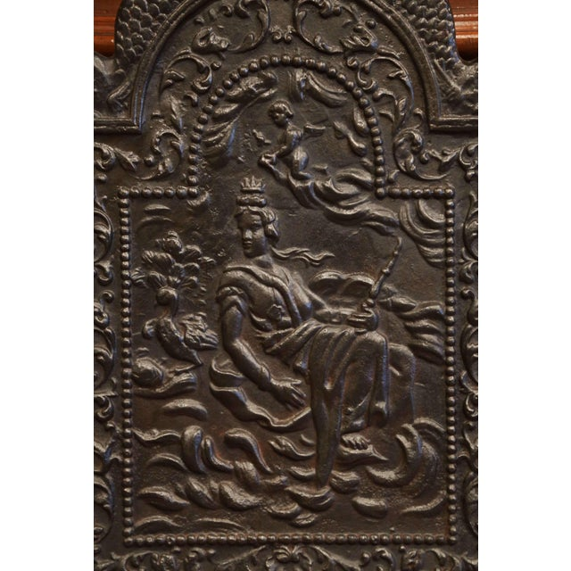 Figurative 19th Century French Louis XV Polished Iron Fire Back With Goddess and Dolphins For Sale - Image 3 of 8