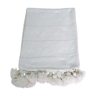 Moroccan White Pom Pom Blanket For Sale