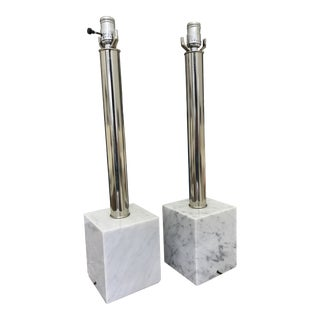 Modern Lamps With Marble Bases - a Pair For Sale