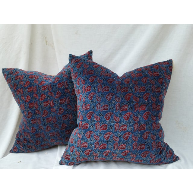 Pillow pair made from thick soft cotton velvet with a traditional Indian design. Custom made for Chairish. New linen back....