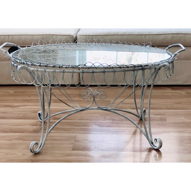 Shabby Chic Wire Tray Table For Sale - Image 4 of 7