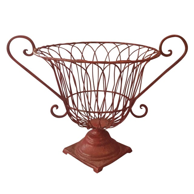 French Red Wire Basket - Image 1 of 4