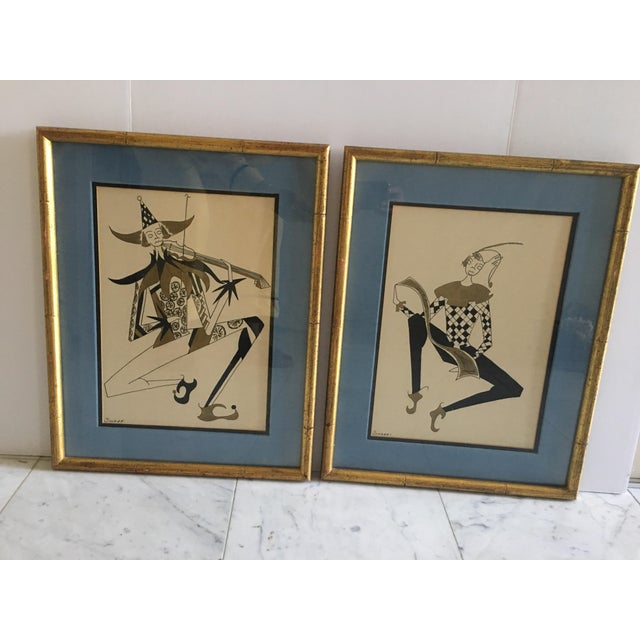 Bamboo Hollywood Regency Harlequin/Jesters Signed Drawings - a Pair For Sale - Image 7 of 7