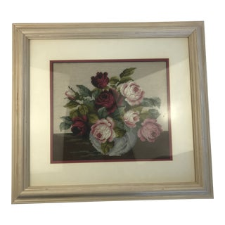 Roses in a Bubble Vase Still Life Needlepoint Art For Sale