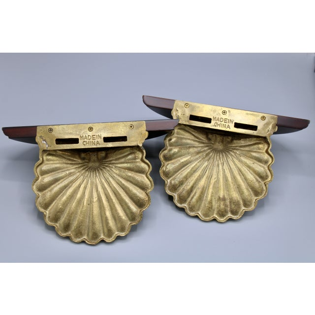 Coastal Wood and Brass Clam Shell Wall Shelves - a Pair For Sale - Image 13 of 13