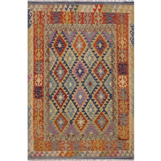 Contemporary Kilim Ardelia Beige/Blue Hand-Woven Wool Rug - 5'0 X 6'8 For Sale