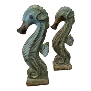 Boho Chic Style Ceramic Seahorse Statues - a Pair For Sale