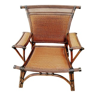 Vintage Marge Carson Mandalay Huge Bamboo and Rattan Upholstered Cushion Side Chair For Sale