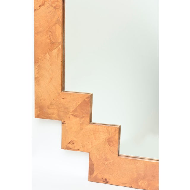 Contemporary Vintage Italian Burled Wood Geometric Mirror For Sale - Image 3 of 12